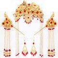 Он женился на невесте одежда головные уборы шоу Китайский костюм аксессуары Корона костюм ретро Боб дети Корона