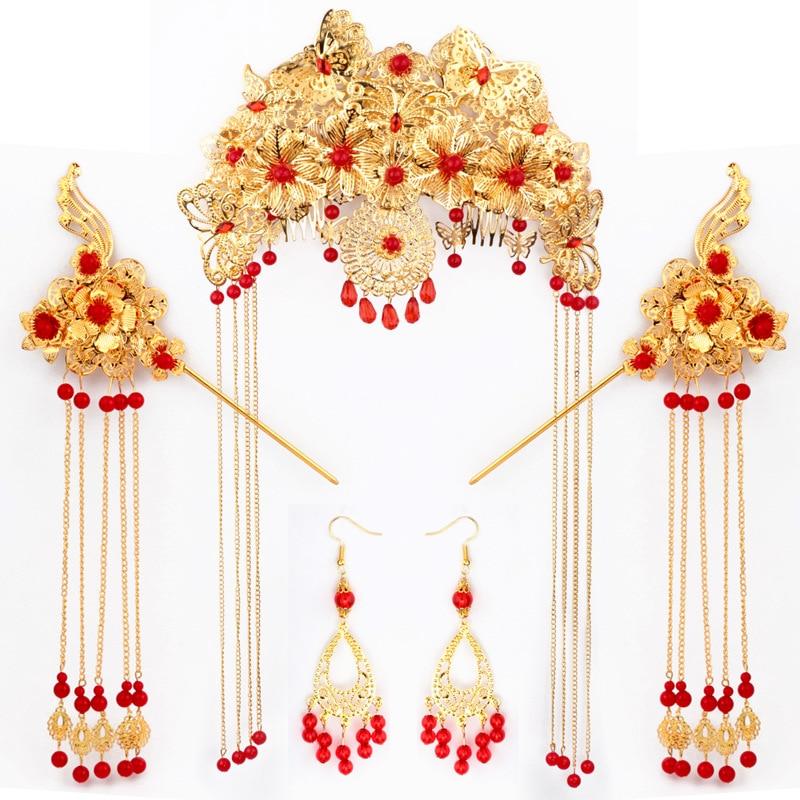 He married bride clothing headwear show Chinese costume accessories Coronet suit retro Bob children Coronet