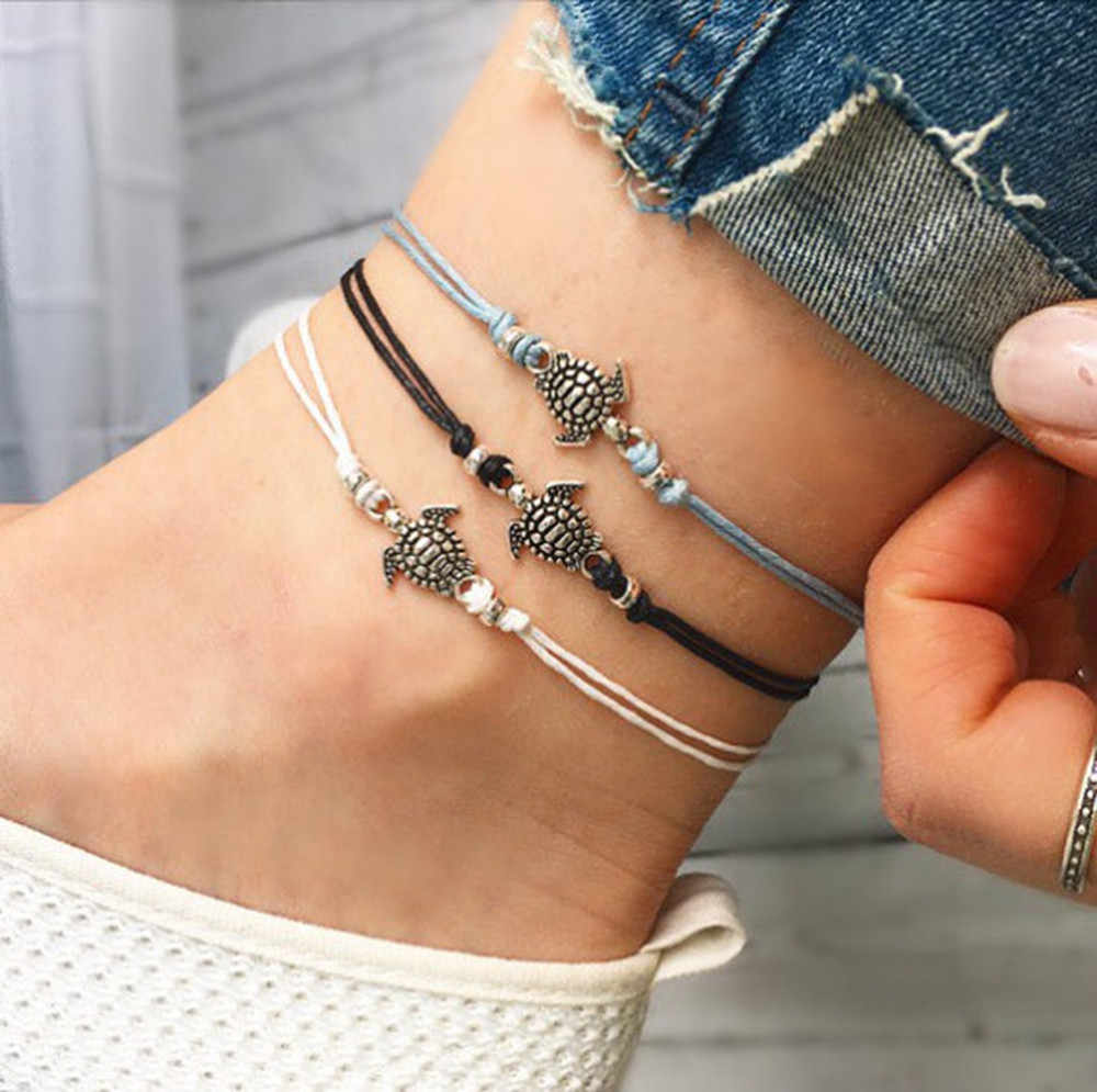 Summer Beach Turtle Shaped Charm Rope String Anklets For Women Ankle Bracelet Woman Sandals On the Leg Chain Foot Jewelry #T