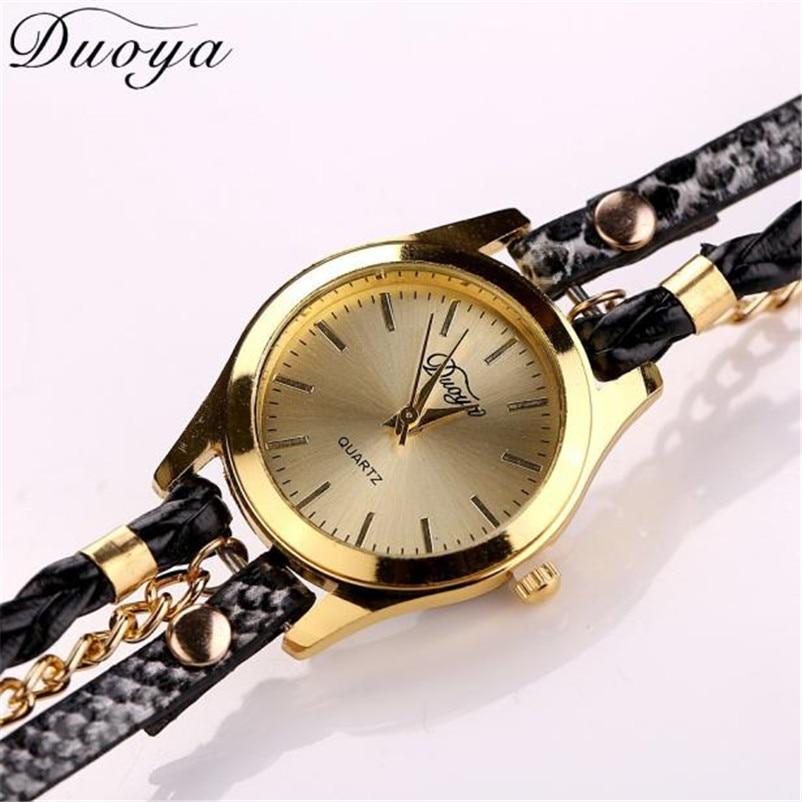 DUOYA נשים שעון צמיד שעון אופנה יוקרה מכירה חמה תליון מותג שעון עור נשים שעונים Reloj mujer גבירותיי ילדה