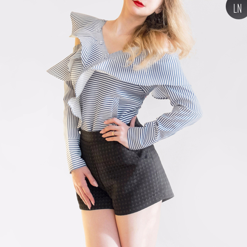 0976c2473a7 2018 Autumn Female T shirts Blue Striped Blasa Sexy Ruffle Off The Shoulder  Tops Elegant Lady Wholesale Free Shipping SWC0270 45-in T-Shirts from  Women's ...