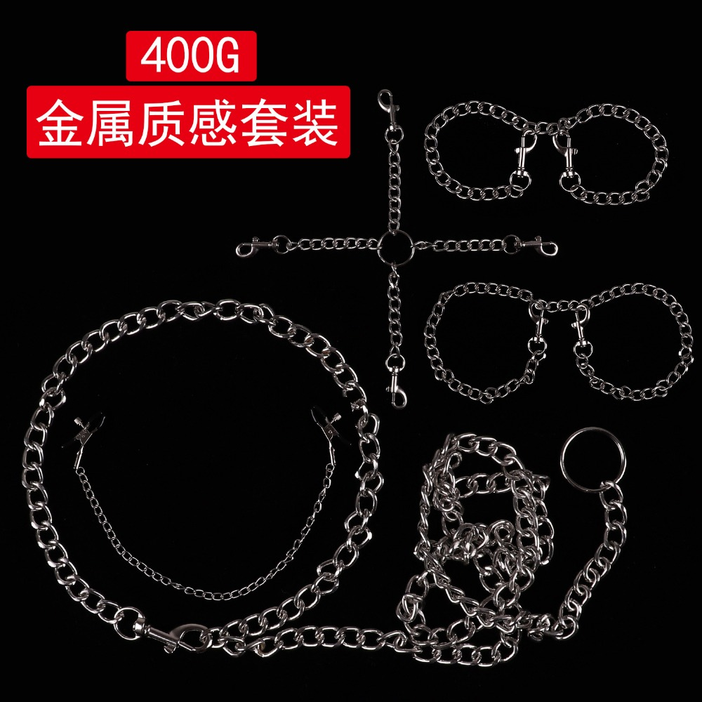 5pcs/set Flirt Sex Games Bdsm Collar Bondage Restraints Metal Handcuffs Sex Toys For Woman Nipple Clamps Ankle Cuffs Chastity