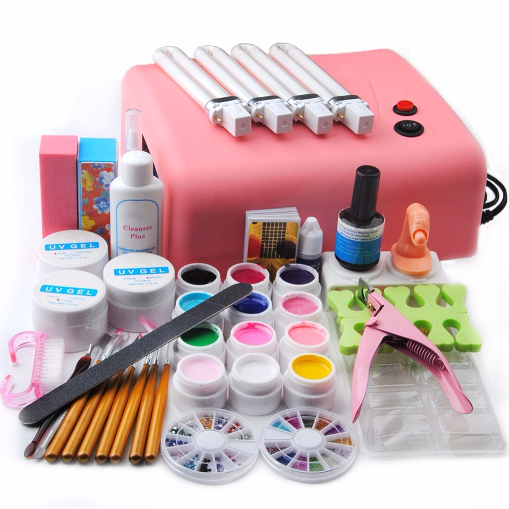 Pro Nail Art Kit UV GEL Pink Lamp Nail Dryer 12 Color UV