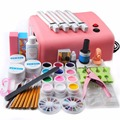 Pro Nail Art Kit UV GEL Pink Lamp Nail Dryer 12 Color UV Gel Pure Solid Gel Polishes Vanishes for Manicure Salon Tools Kit Sets