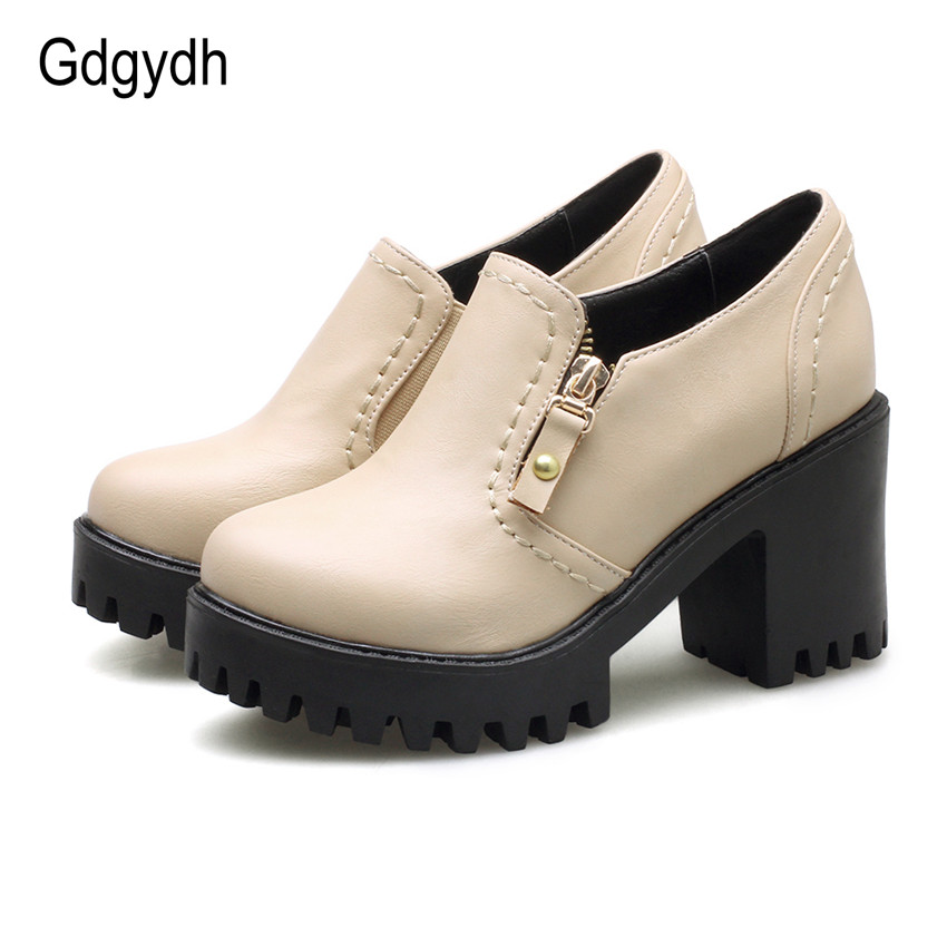 Gdgydh 2017 Spring New Women Shoes Round Toe British Style Platform Female Single Shoes Square Heels