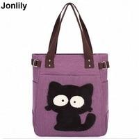 Fashion Women Canvas Handbag Cute Cat Appliques Travel Shoulder Bag Casual Lady Handbags Female Shoulder Tote Bags Bolsa LI 1237