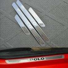 Автомобиль Стайлинг для Volkswagen VW Polo нержавеющая стальная порога Накладка панель Step пластин поло плиты 2011-2013 2014 2015 2016