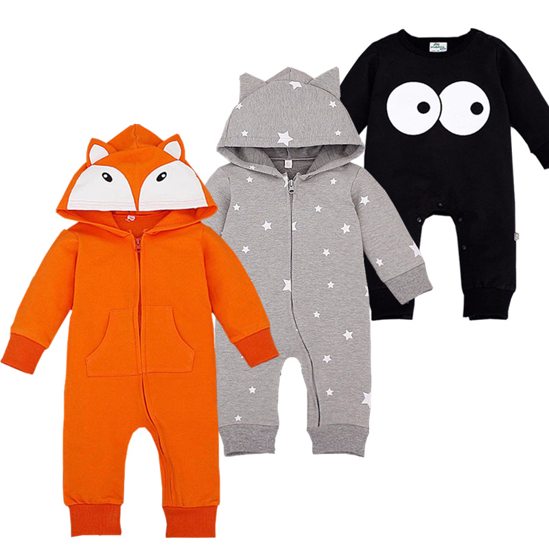 Newborn Cartoon Romper Cotton Rope Newborn Baby Rompers Hooded Infant Overalls Bebes Autumn Roupa Infantil Bebe