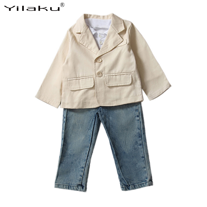 2017 New Fashion Boys Clothes Set Kids Coat+Polo Shirt+Jeans Suits Children Spring Autumn Clothing Sets Boy 3pcs Outfits CF391