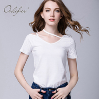 Ordifree 2017 New Summer Fashion Top Tees T Shirt Off Shoulder V Neck Tshirt 3XL 4XL