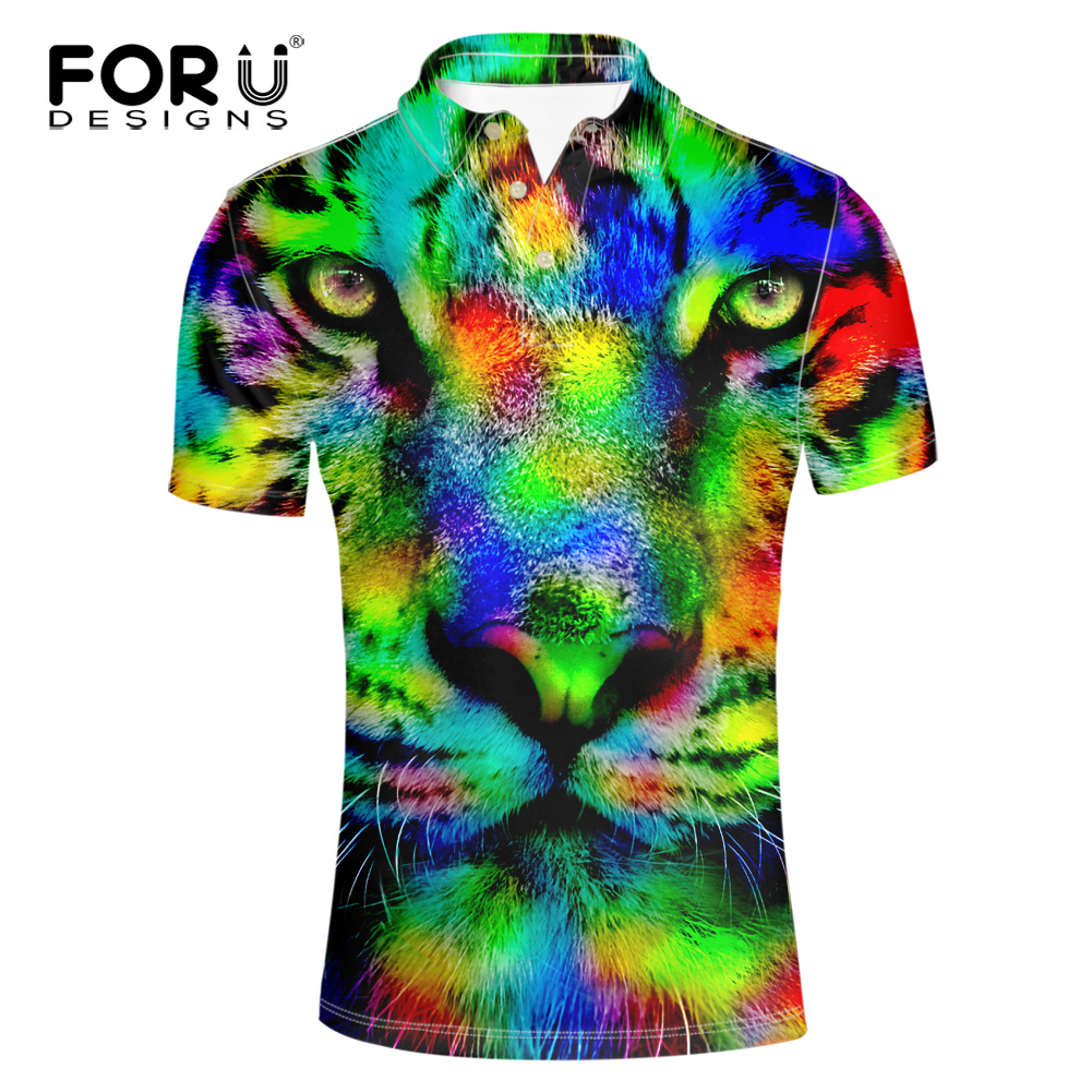 FORUDESIGNS Men 3D Animal Tiger Horse  Shirt Males Colorful Printed for Teen Boy Cool Short Sleeve Shirts Button