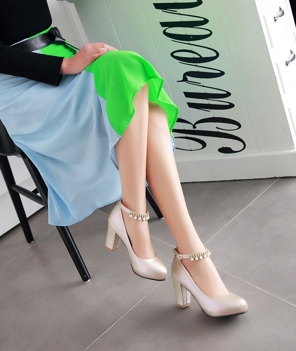 2017 Chunky High Heeled Pink Bridal Wedding Shoes Beaded White Female Buckle Elegant Pumps Silver Gold37
