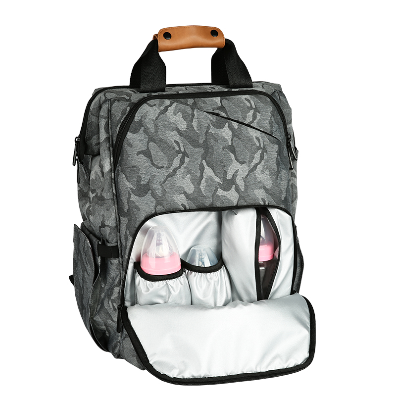 Fashion Large Capacity Mummy Bag Heat Preservation Baby Care Bag Camouflage Print Daddy Backpack Vintage Backpack Women Bags image