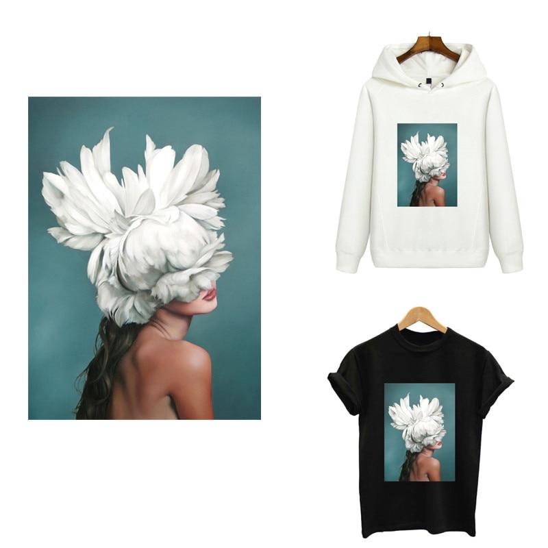 Transfert de fer pour vêtements | Autocollants mode beauté fleur, patch personnalisé, transfert de chaleur, autocollant fusible pour vêtements