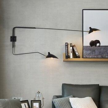 черный металлический декор стен   Современный минималистский двойной головкой настенный светильник Промышленный черный белый окрашенное железо регулируемый светодиодный ...