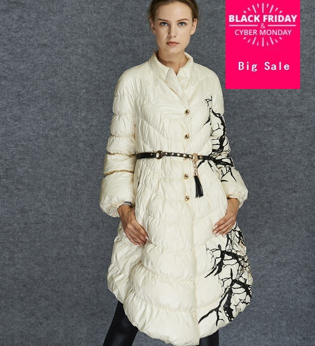 European Fashion Designer 2019 Parkas For Women Winter White Duck   Down   Parka Long Printed Jacket   Coat   With Pocket