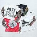 Niños Camisetas Del Tatuaje Patrón de Malla de Manga Muchachas de Los Bebés Camisetas de Algodón Tops Niños Camisetas Primavera Otoño Nueva Llegada