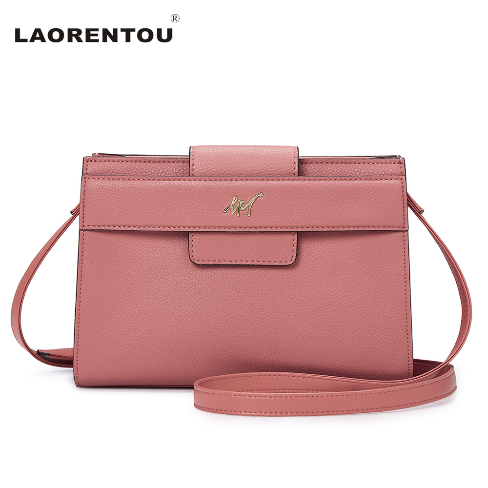 ФОТО Laorentou Cowhide Leather Women Bag Solid Pink Exclusive Female Bag Leather Shoulder Crossbody Bag For Women Luxury Brand Bag