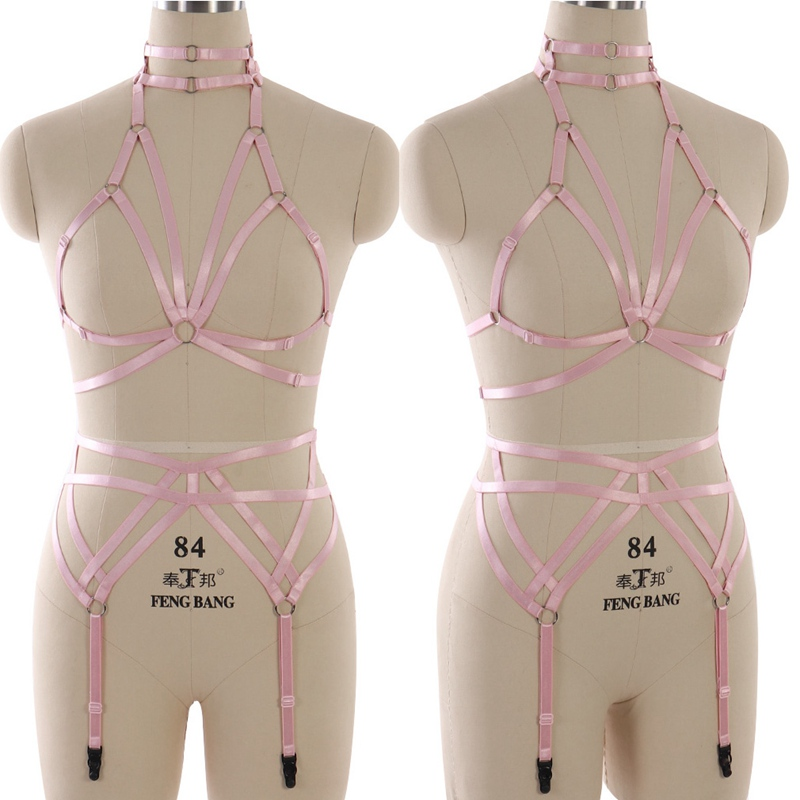 Pink Body Harness Goth Garter Set Halloween Sexy Lingerie Bondage Harness Elastic Body Harness Cage Bra Wedding Leg Garter Belt