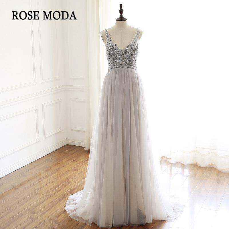 Rose Moda V Neck Grey Floor Length   Prom     Dress   with Pearls Formal Backless Party   Dress