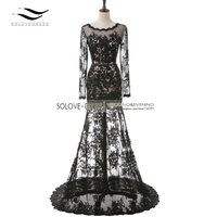2017 Real Elegant Sexy Backless Black Long Sleeves Evening Dress Lace Evening Gown Mother Of the Bride Dress Vestido De Festa