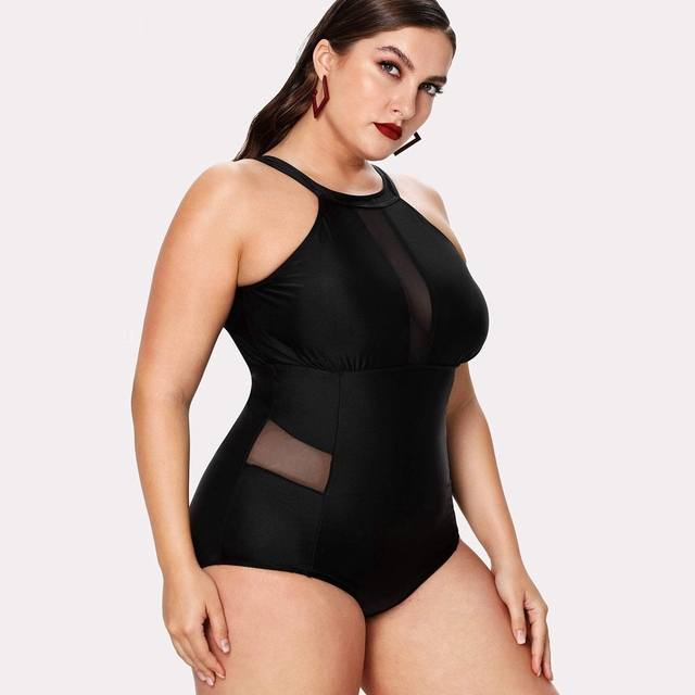 Plus size solid mesh swimsuit high neck halter swimwear women sexy monokini  patchwork swimming suit for women sexy swimsuit 4
