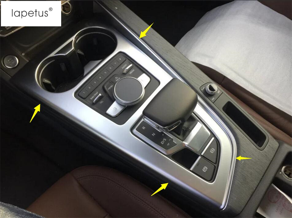 Accessories For Audi A4 B9 Sedan / Avant Allroad Quattro 2016 2019 Transmission Shift Gear / Water Cup Holder Panel Cover Trim