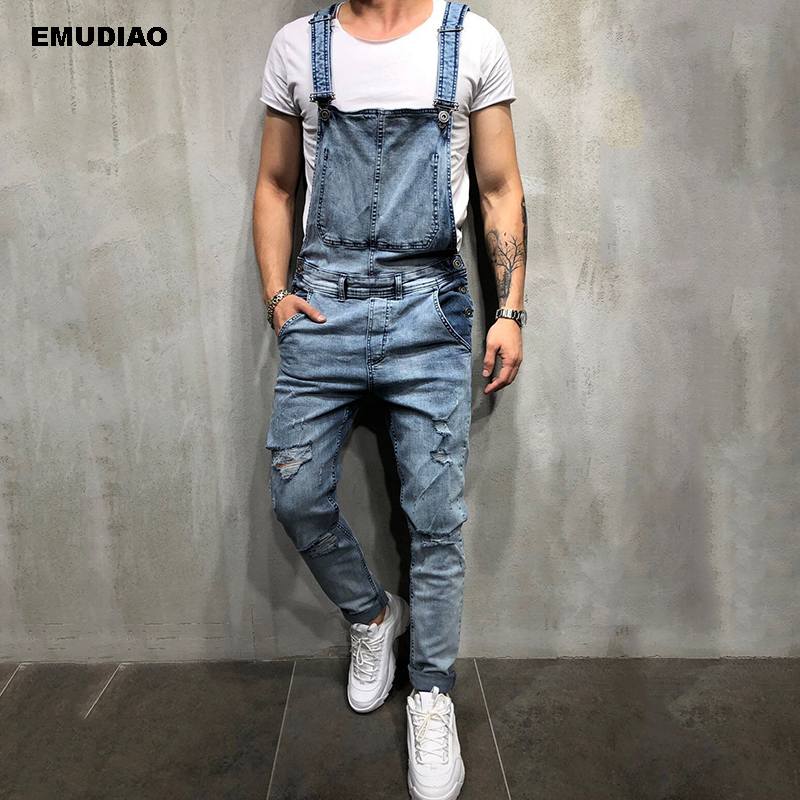 Streetwear Overalls Men Jeans Hombre 2019 Fashion Men's Ripped Skinny Jeans Destroyed Frayed Denim Pant Overalls Long Pants