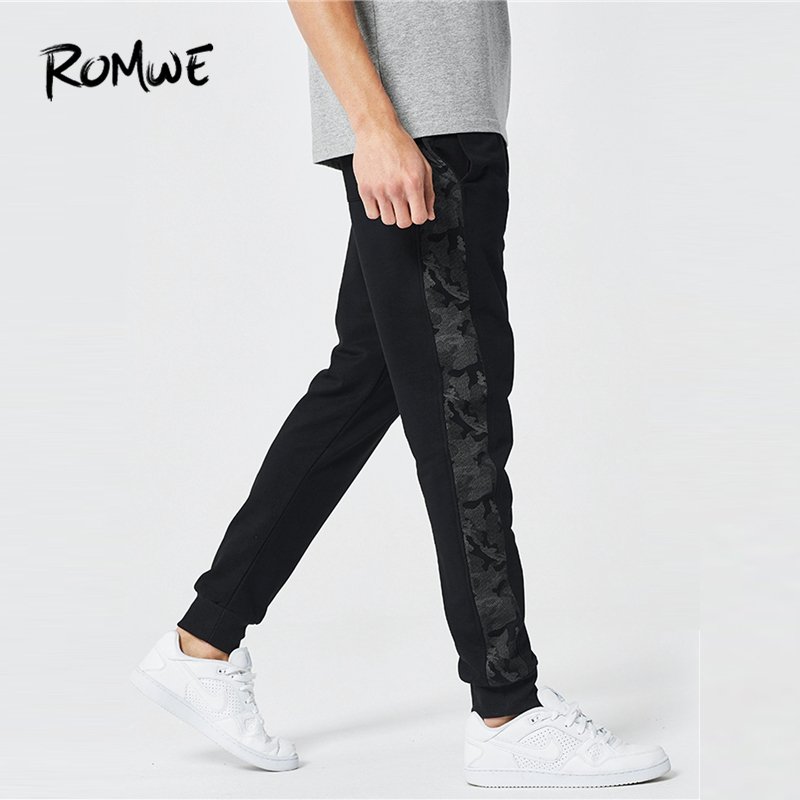 ROMWE Men Camo Stripe Side Drawstring Pants 2019 Designer Autumn Male Spring Trousers Basic Black Mid Waist Long Pants