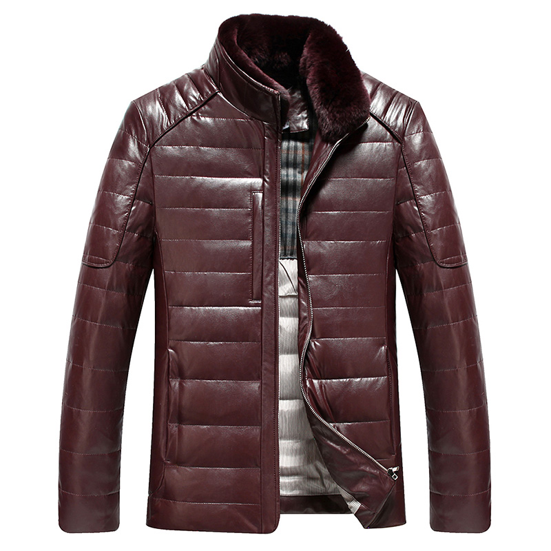 2017 new arrival winter down coat leather men high quality fur fashion jacket casual thickening plus size M L XL 2XL 3XL