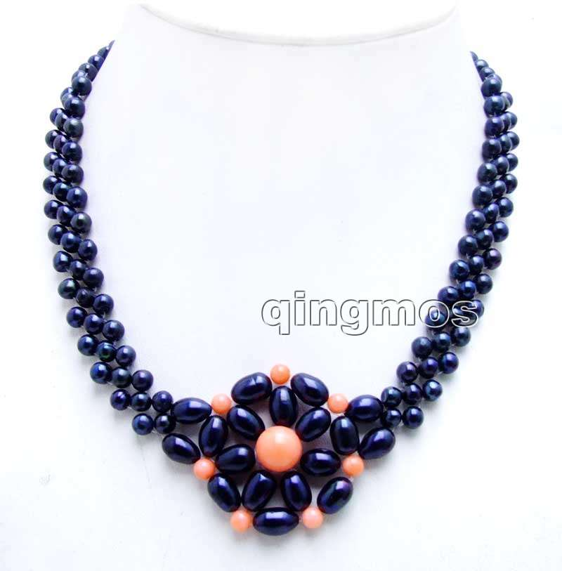 6-7mm Black Round Natural FW pearl and 9-10mm Pink Coral handwork Weaving 17 3 strands Necklace-nec6209 Wholesale/retail free