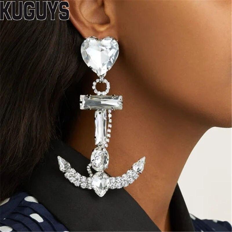 Женские серьги-подвески с кристаллами KUGUYS, вечерние серьги-капельки с крупными кристаллами, модные ювелирные изделия