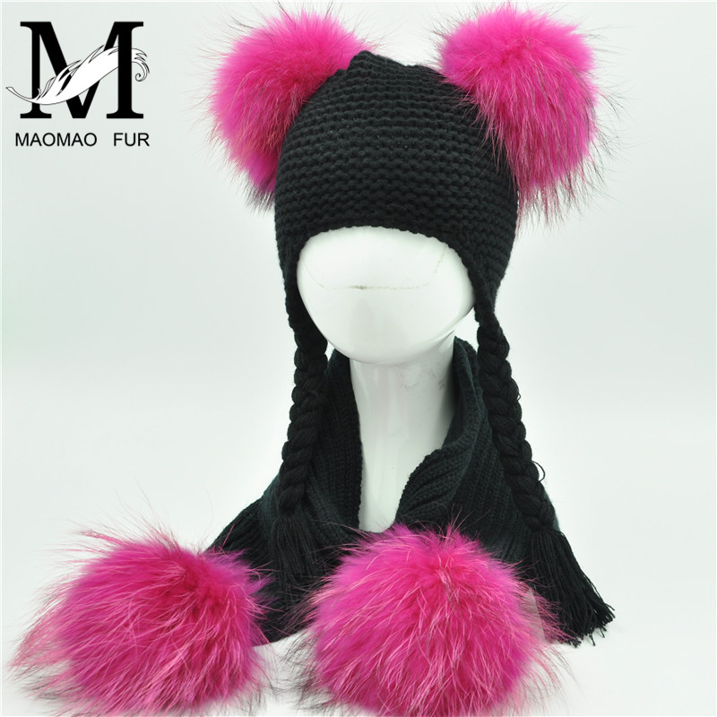 Kids Winter Hat And Scarf Set Children Luxury Big Fur Ball Warm Crochet Beanie Set Real Raccoon Fur Pom Pom Cap And Scarf Set
