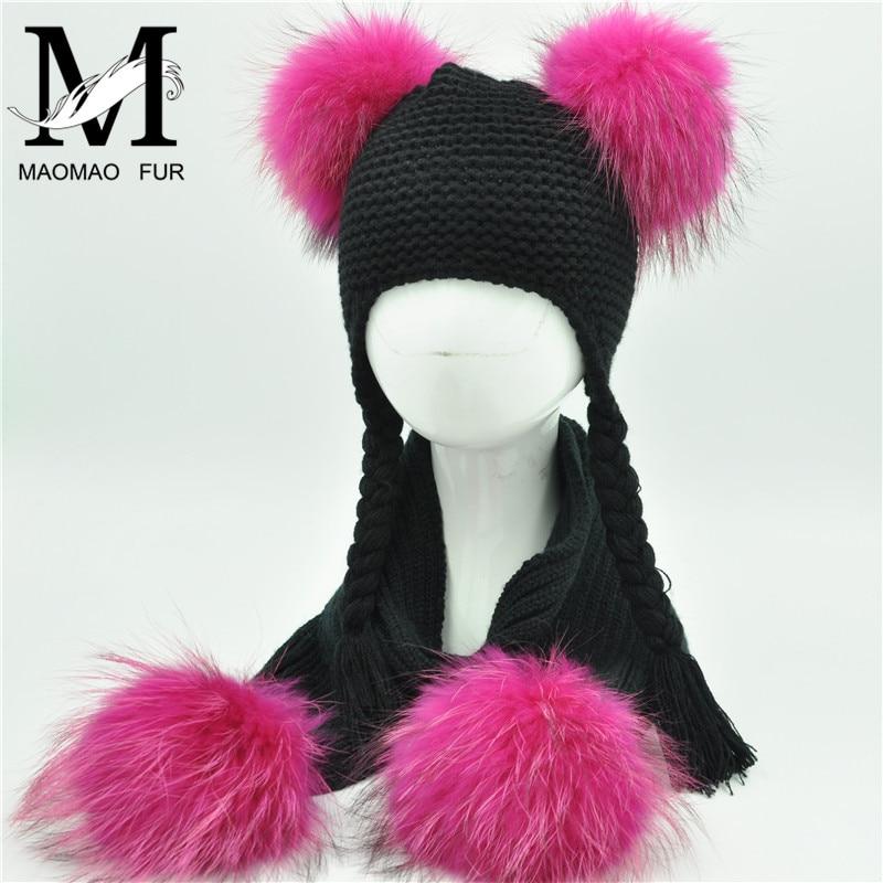Kids Winter Hat And Scarf Set Children Luxury Big Fur Ball Warm Crochet Beanie Set Real Raccoon Fur Pom Pom Cap And Scarf Set