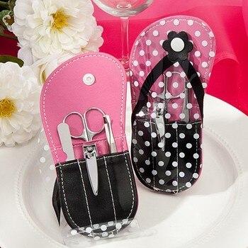 New Arrivals Wedding gifts White Polka Dot Flip Flop Design Manicure Kit Bridal Shower Favors FREE SHIPPING 12sets/lot