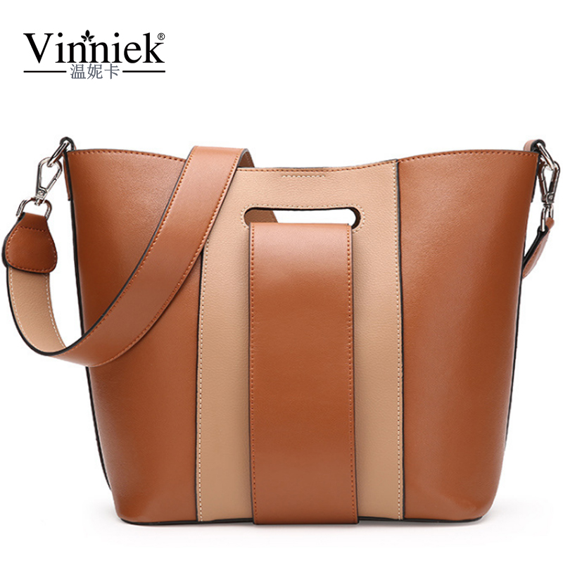 Genuine Leather Female Shoulder Bag Fashion Bucket Bags Luxury Handbags Women Bags Designer Brand Famous Patchwork Messeng Bags 2016 famous designer brand bags women leather handbags new fashion genuine leather shoulder bag female luxury messager bag