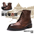NEW 2015 Spring and autumn fashion trend genuine leather high boots men's Riding  boots carved men's Motorcycle boots