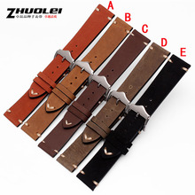 High Quality Genuine Leather Grind arenaceous Watchband  Vintage cowhide Watchstraps and stainless steel clasp 18mm 20mm 22mm