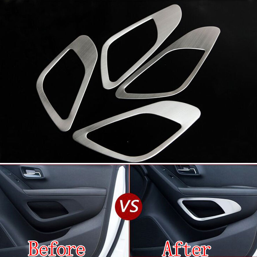 Car Styling Door Storage Box Cover Trim Decorative Frame Sticker For Chevrolet Trax 2014 2015 2016 Interior Car Accessories