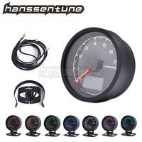 62mm 7 Color Auto Tachometer Gauge LCD Display 2.5 Inch RPM Meter With Sensor Universal
