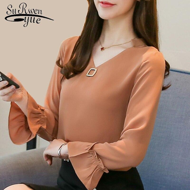 womens tops and blouse fashion spring 2019 plus size chiffon blouse shirt flare long sleeve wome shirts blusas femininas 1955 50
