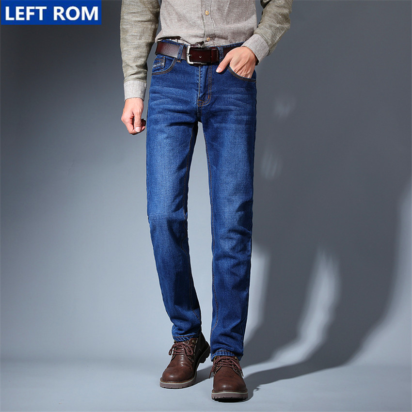 Jeans Mens Cotton Blue Male Jeans 2017 New Men Pants Fashion Business Casual Size 42 Hot sale high quality best choice Left rom hot new arrival mens jeans white hole jeans beggar style pants male taper straight slim high quality men pants plus size mb324
