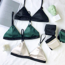 New 3/4 cup sexy bralette women deep V cloth bras push up padded bra set Wire Free underwear young ladies fashion Bra And Panty