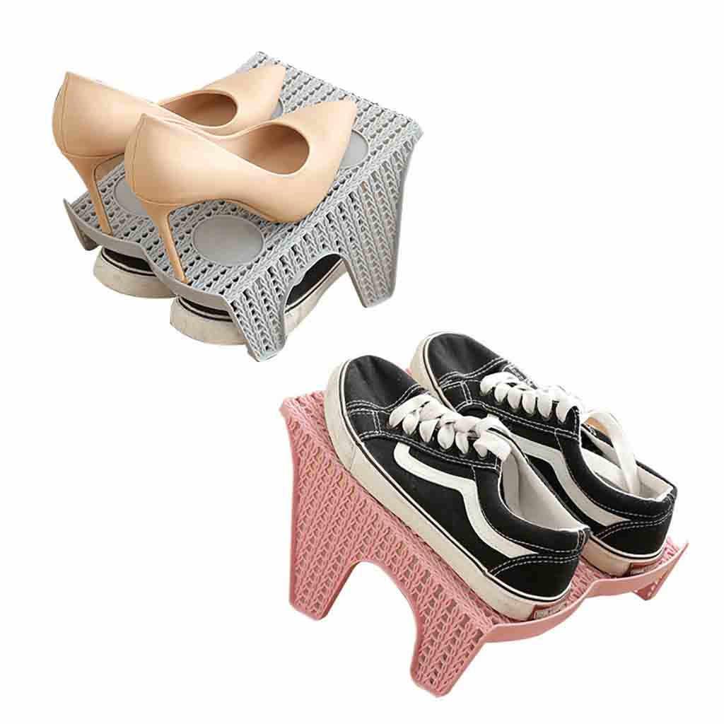 靴スロット二重層プラスチック製のスペース · ホルダー靴ボックスオーガナイザー収納オーガナイザー収納スタンドホルダー卸売 # EW