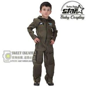 078f40c0f896 Kids Costume Halloween Set Cute Boys Military Jumpsuit