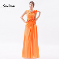 Amazing Orange Chiffon Prom Dresses with Flowers Long Evening Party Dress Simple Big Discount Event Special Occasion Dress