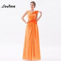 Tuyệt vời Orange Chiffon Prom Dresses với Flowers Dài Đảng Evening Ăn Mặc Đơn Giản Big Giảm Giá Tổ Chức Sự Kiện Dịp Đặc Biệt Ăn Mặc