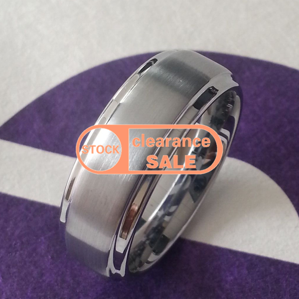 /US size 10# /width:8MM /HSC0003 stock clearance sale gift Flat Wedding Band Brushed Tungsten Ring step /customize engraved