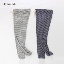 Women sleep trousers Spring and autumn pajama pants Striped trousers Close up Wo