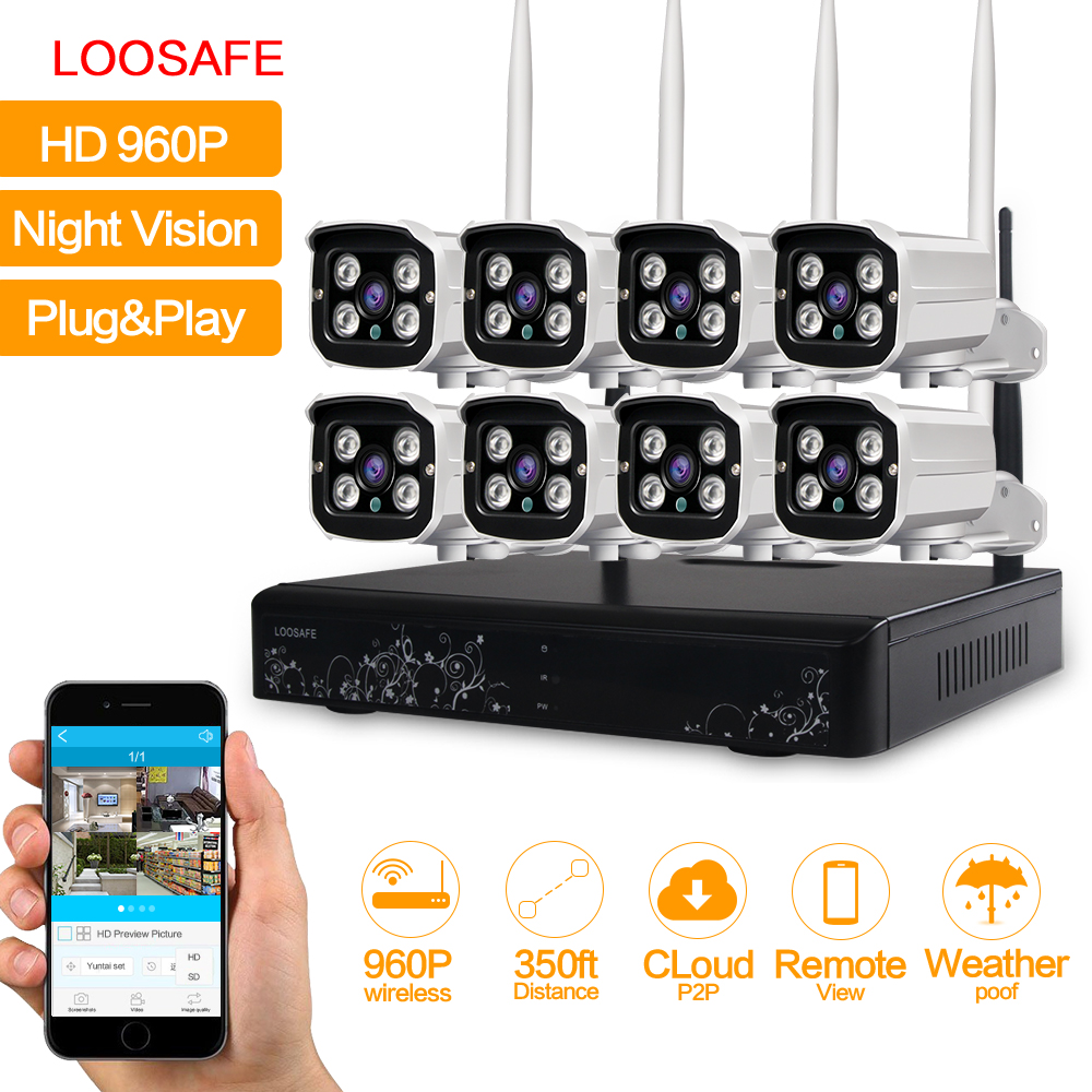 LOOSAFE HD 960P Outdoor Surveillance Camera System 8CH NVR Kit CCTV Home Security Camera System Wireless WIFI IP Camera System firebird style flamed maple top mahogany body